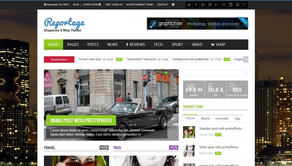 Reportage wordpress theme