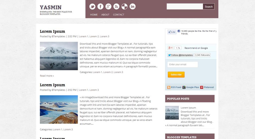 Yasmin Blogger template