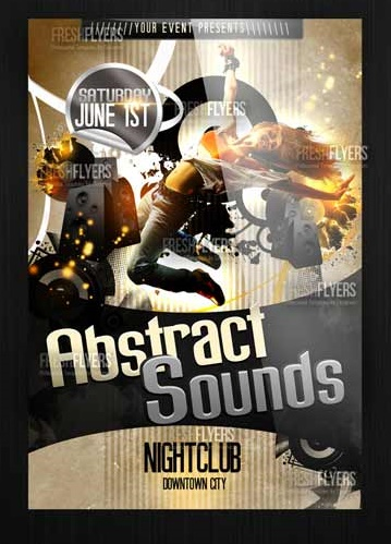 ABSTRACT SOUNDS PSD FLYER TEMPLATE