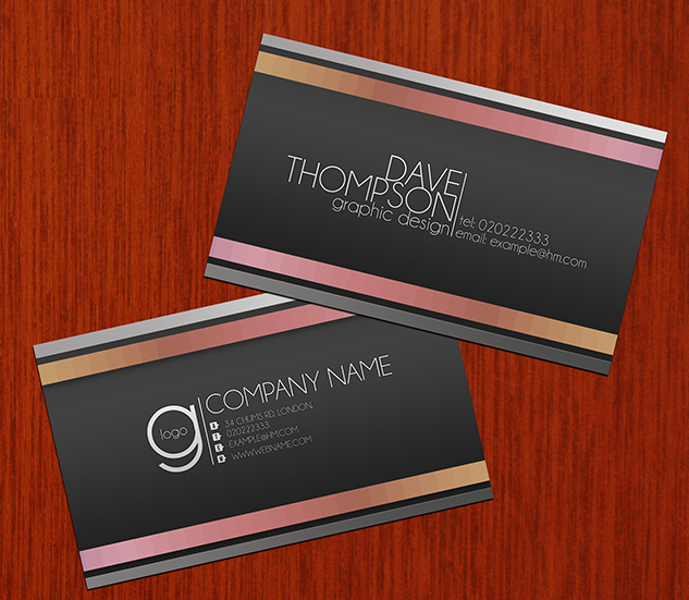 Abstract Greyscale Business Card
