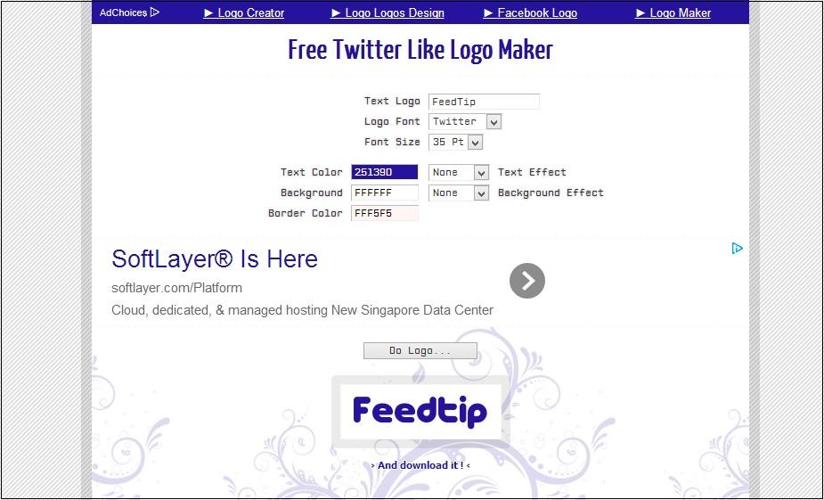 Facebook, twitter, google logomaker