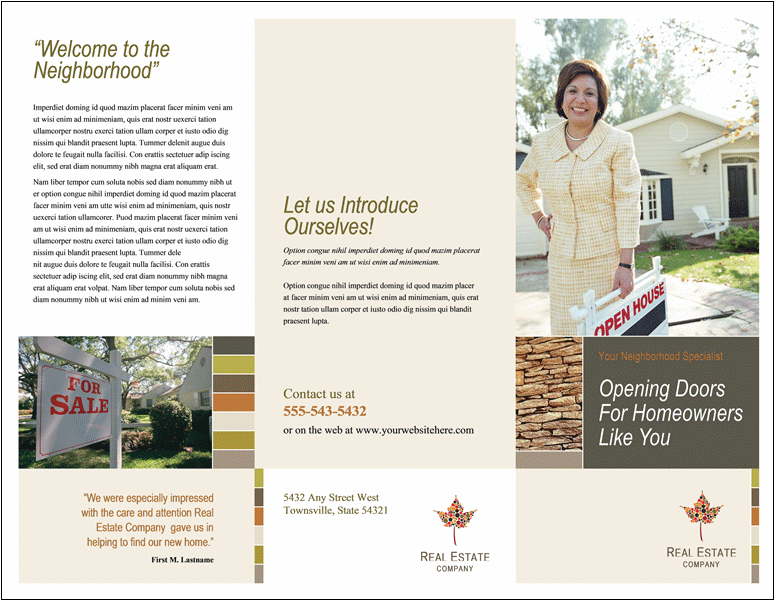 35 best free brochure templates feedtip for Open house brochure template