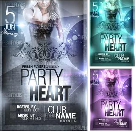PARTY HEART PSD FLYER TEMPLATE