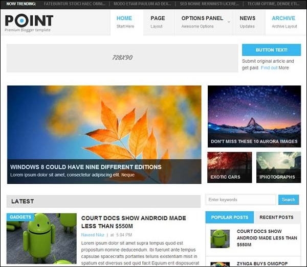 Point blogger template