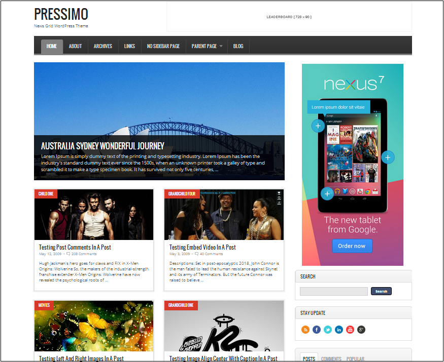 Pressimo wordpress theme