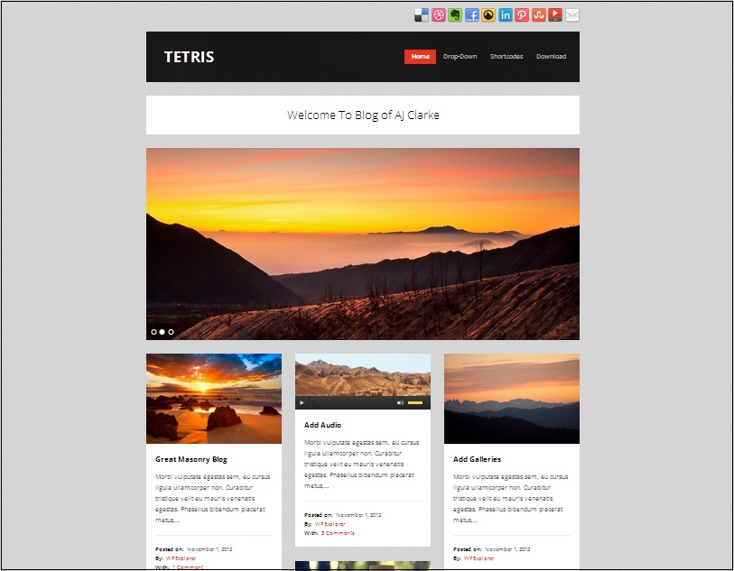 Tetris Masonry Tumblog WordPress Theme