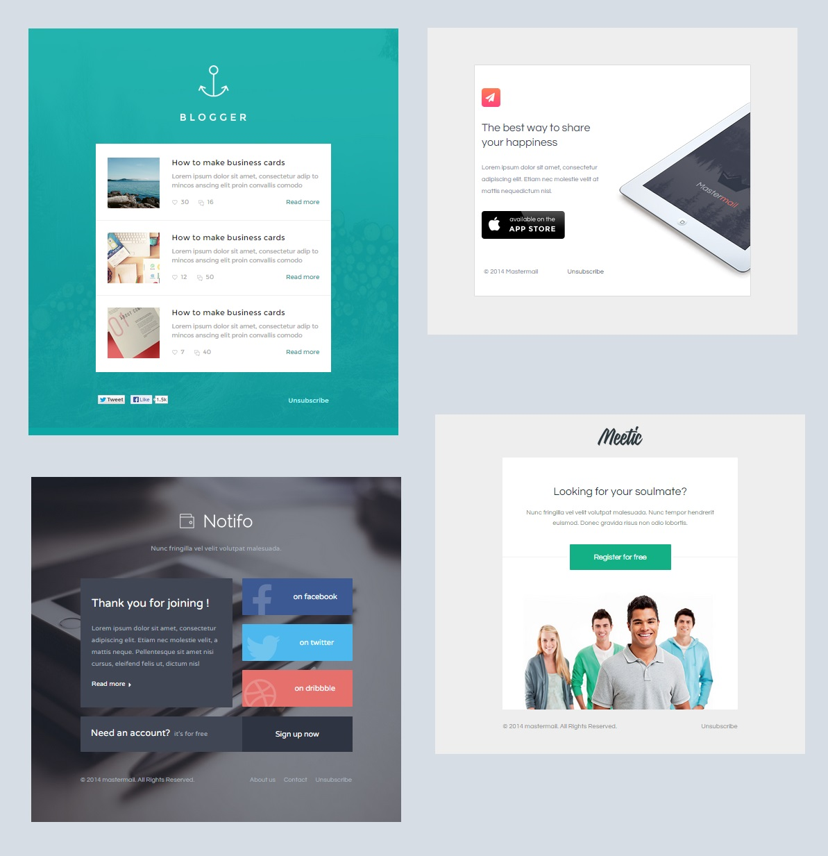 Alerta notification email template set