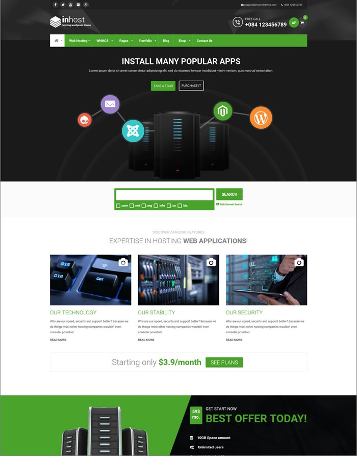 InHost Hosting WordPress Theme