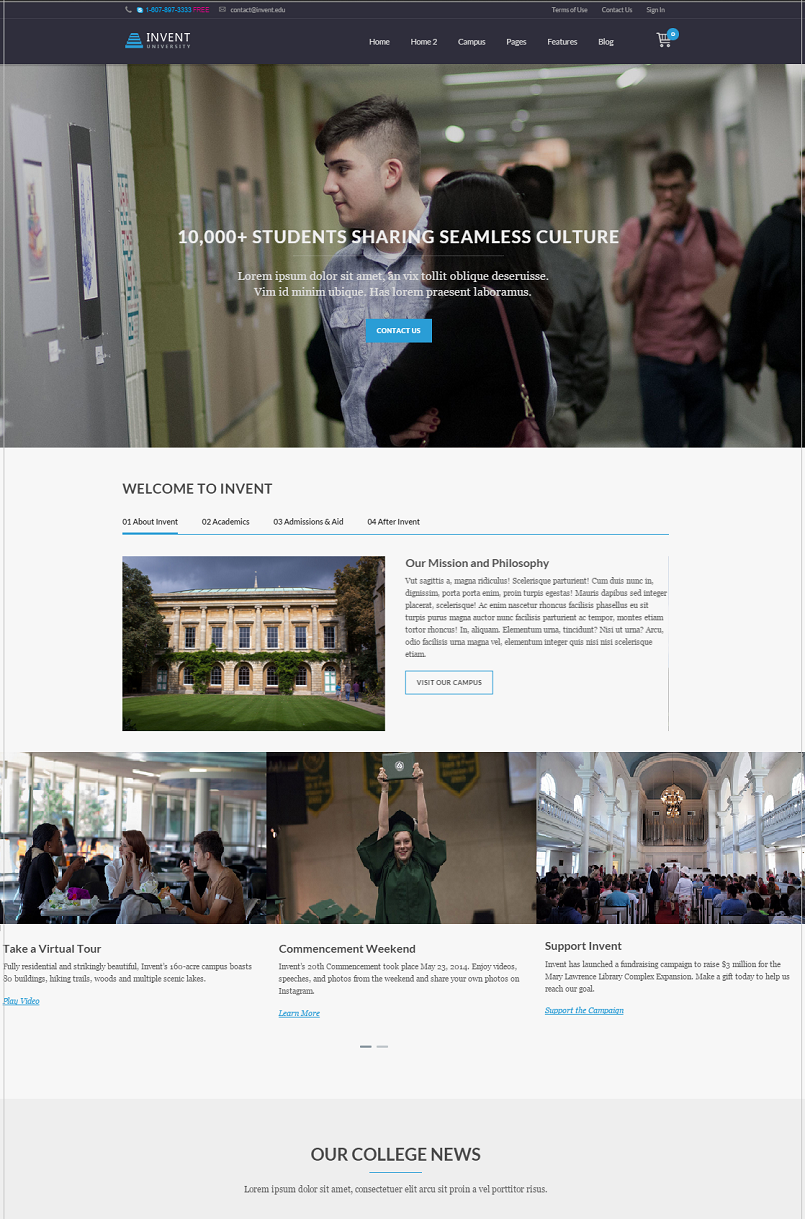 Invent Education WordPress Theme