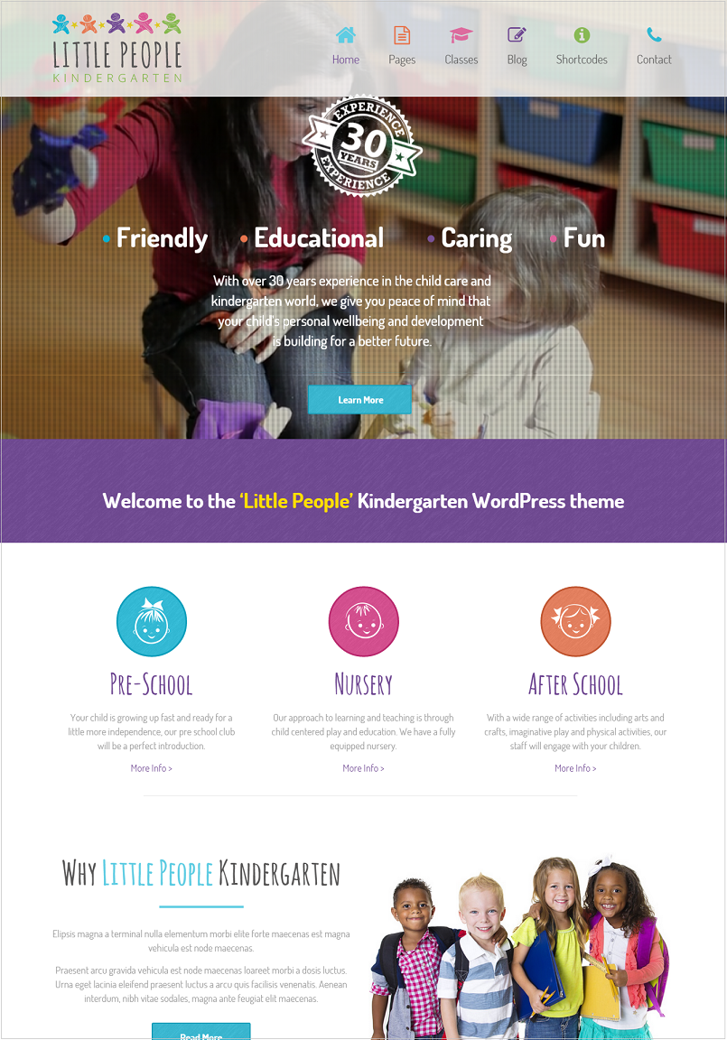 Little People Kindergarten Education WordPress theme