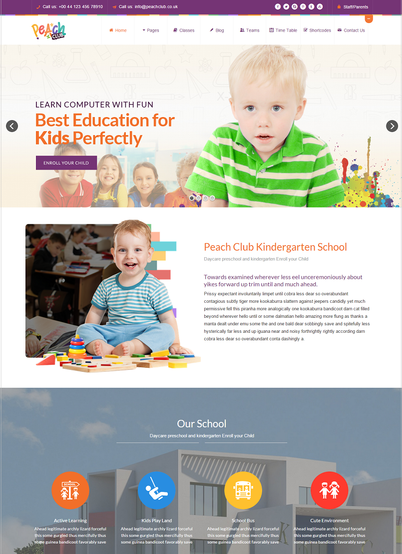 Peachclub Education WordPress Theme
