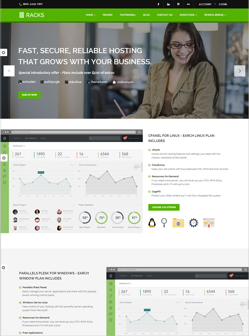 Racks Hosting WordPress Theme