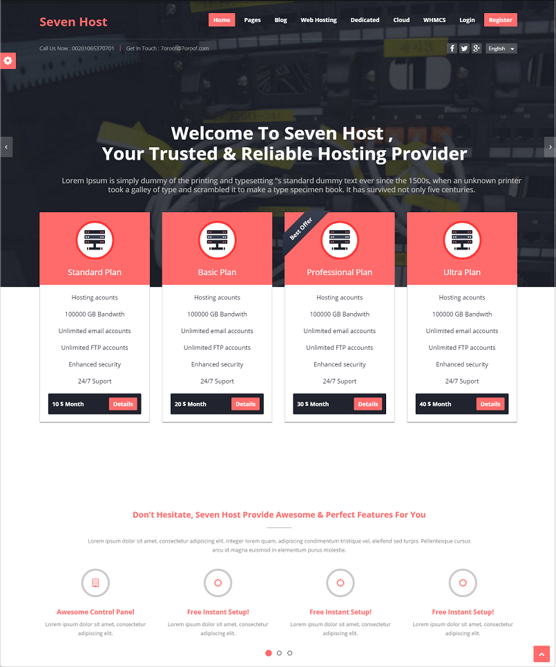 Seven Host WordPress Hosting Theme