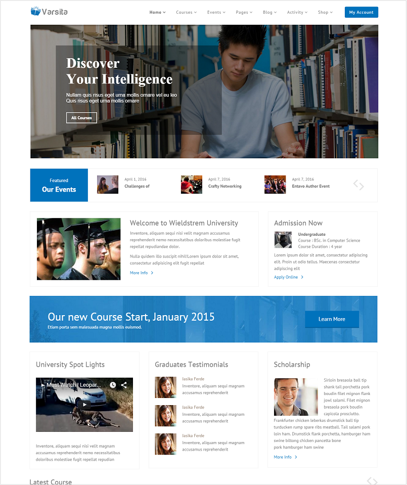 Varsita Education WordPress Theme