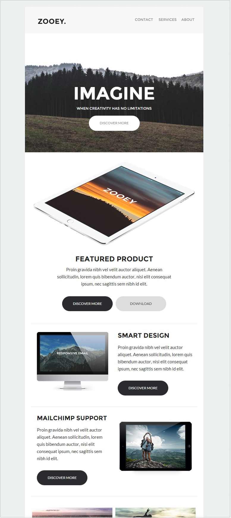 Zooey newsletter email templates