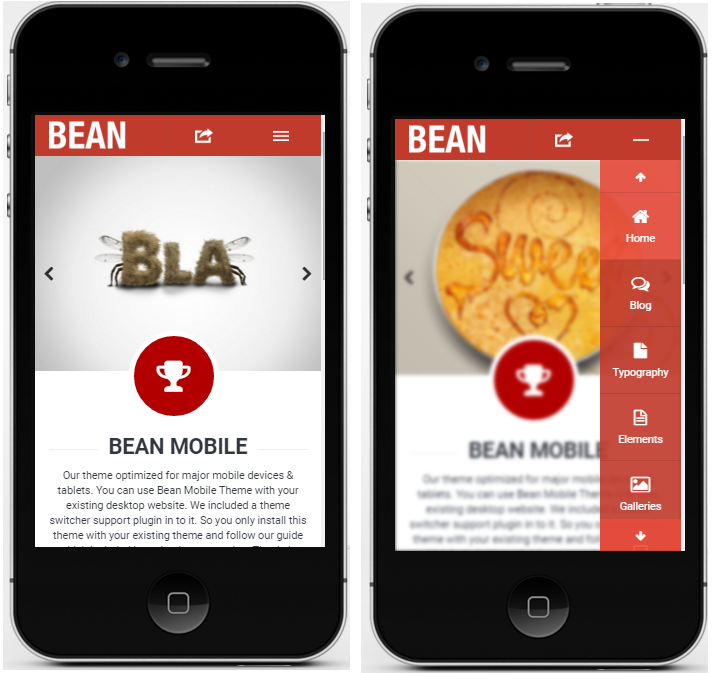 Bean mobile wordpress theme