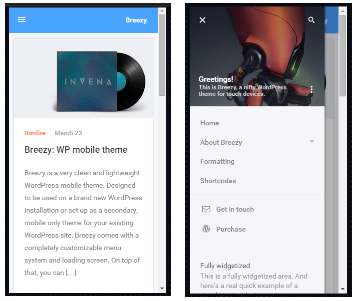 Breezy mobile wordpress theme