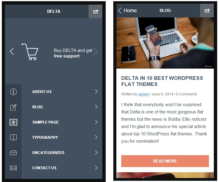 delta mobile wordpress theme
