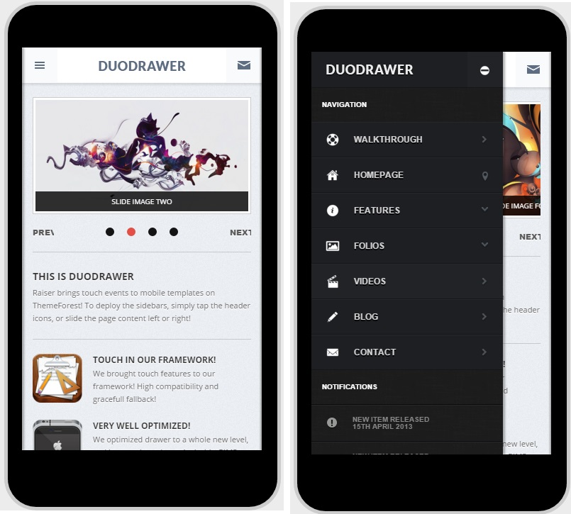 DuoDrawer Mobile WordPress Theme