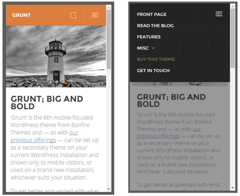 grunt mobile wordpress theme