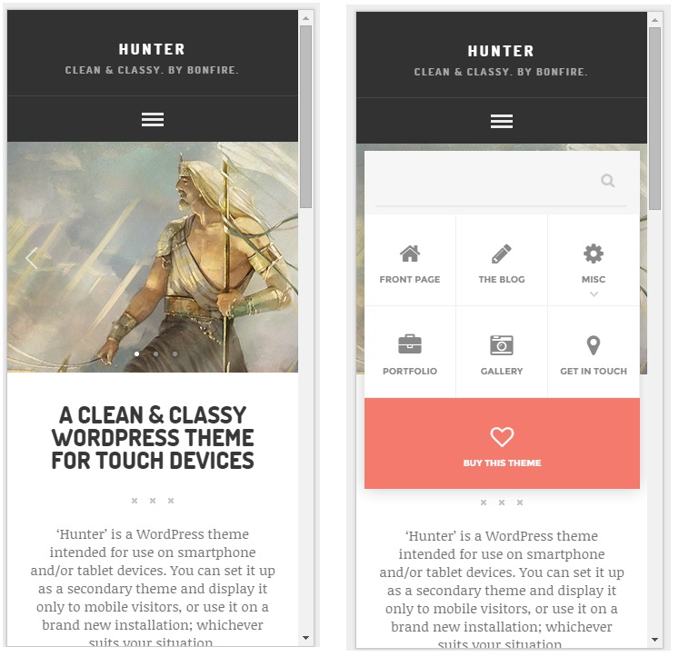 Hunter mobile wordpress theme