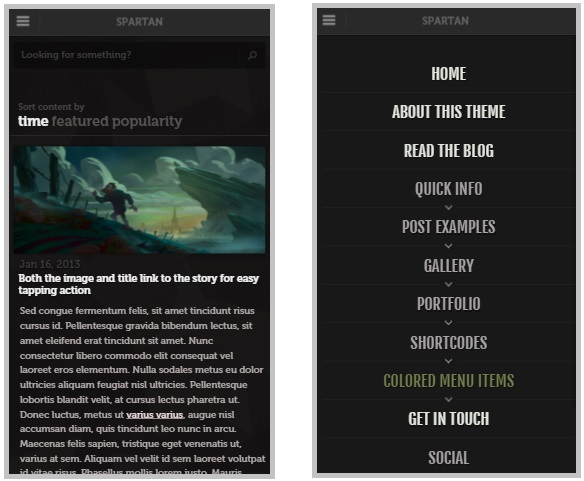 Spartan mobile wordpress theme
