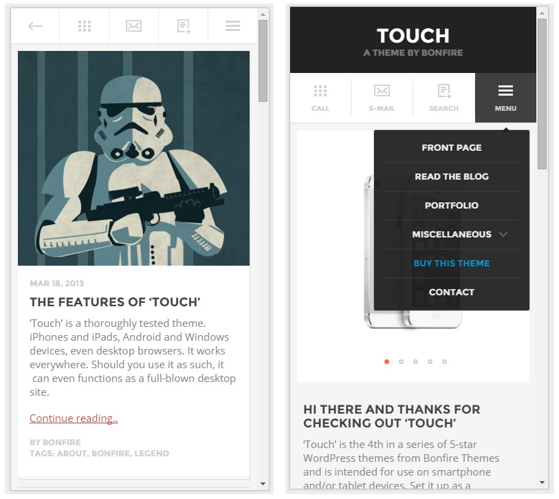 touch mobile wordpress theme
