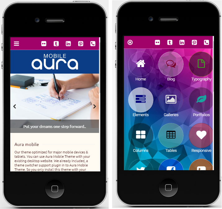 aura mobile wordpress theme