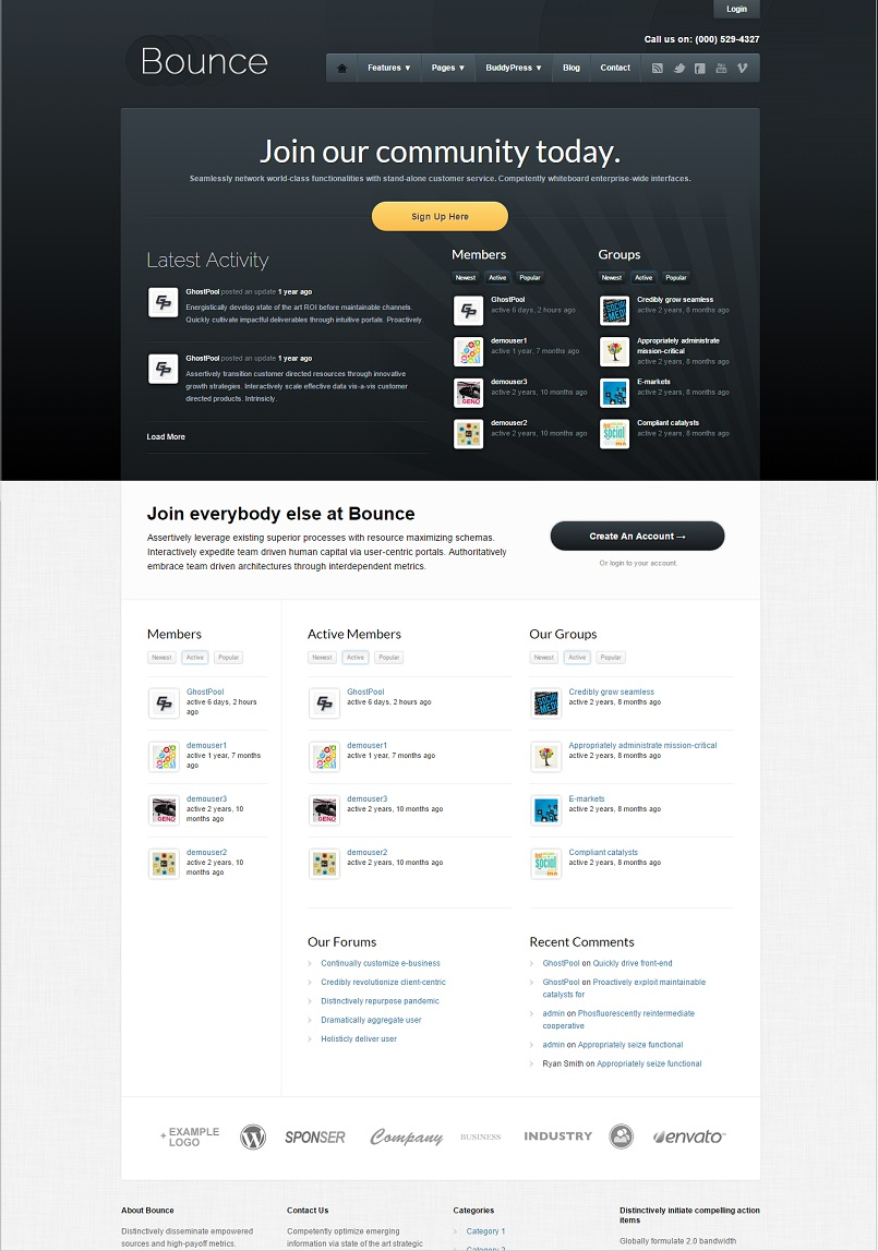bounce wordpress theme