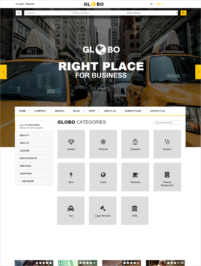 globo wordpress directory theme