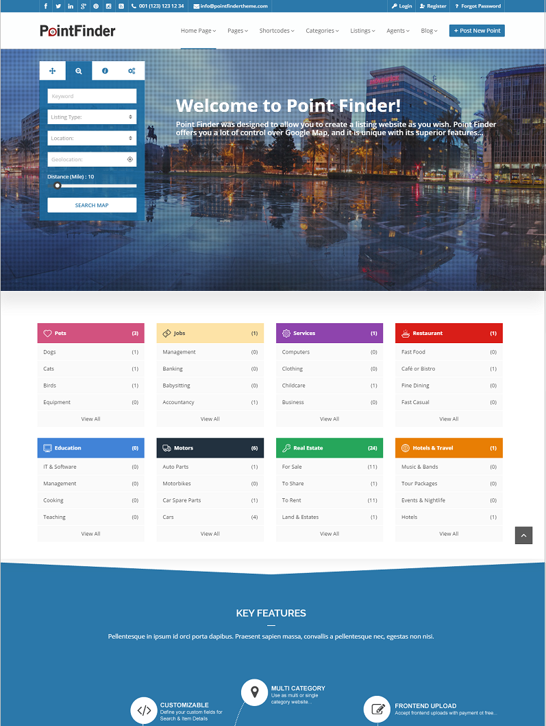 Point Finder WordPress theme