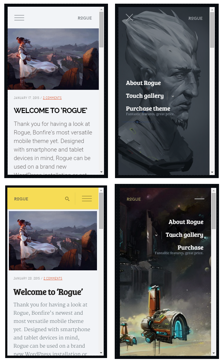 rogue mobile wordpress theme
