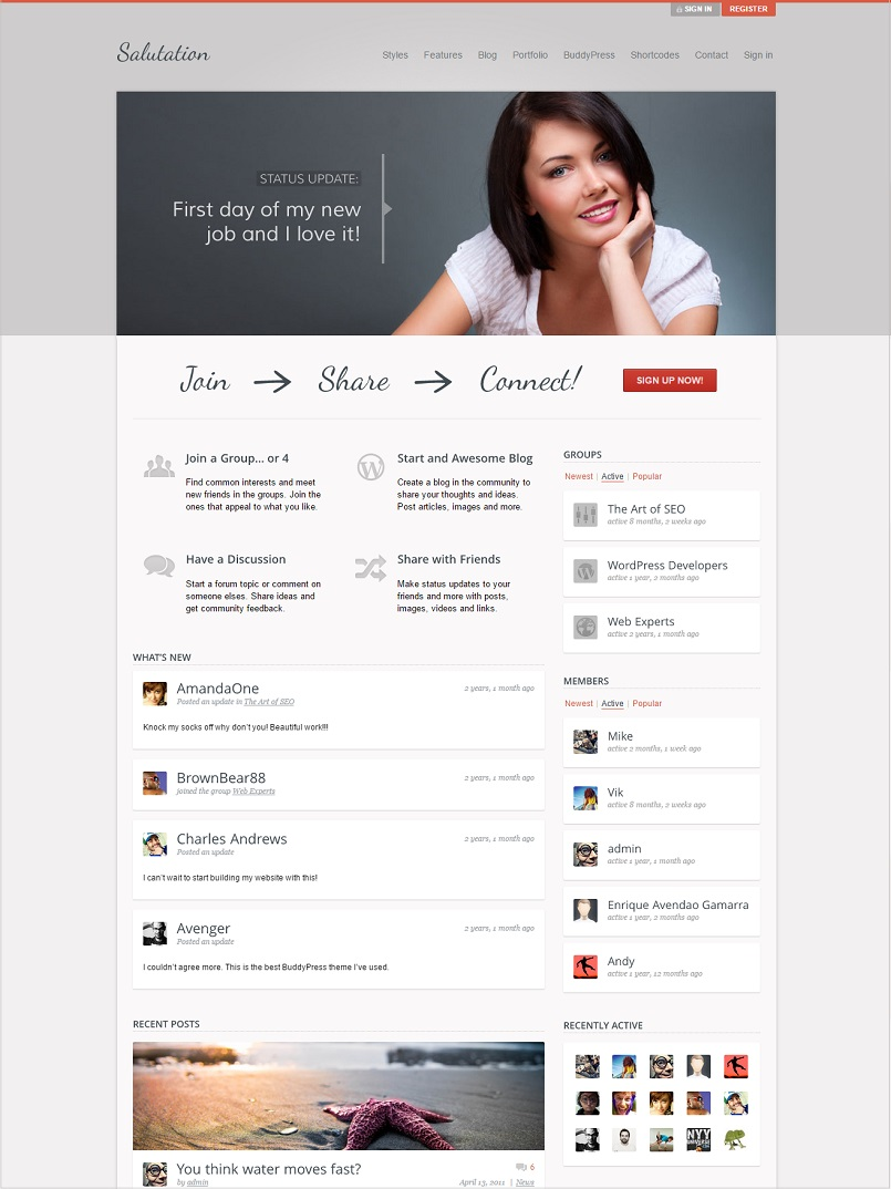 salutation wordpress buddypress theme