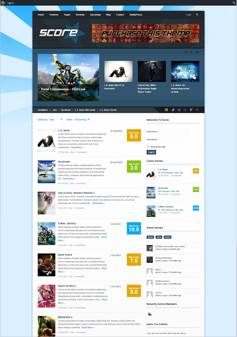 score wordpress buddypress theme