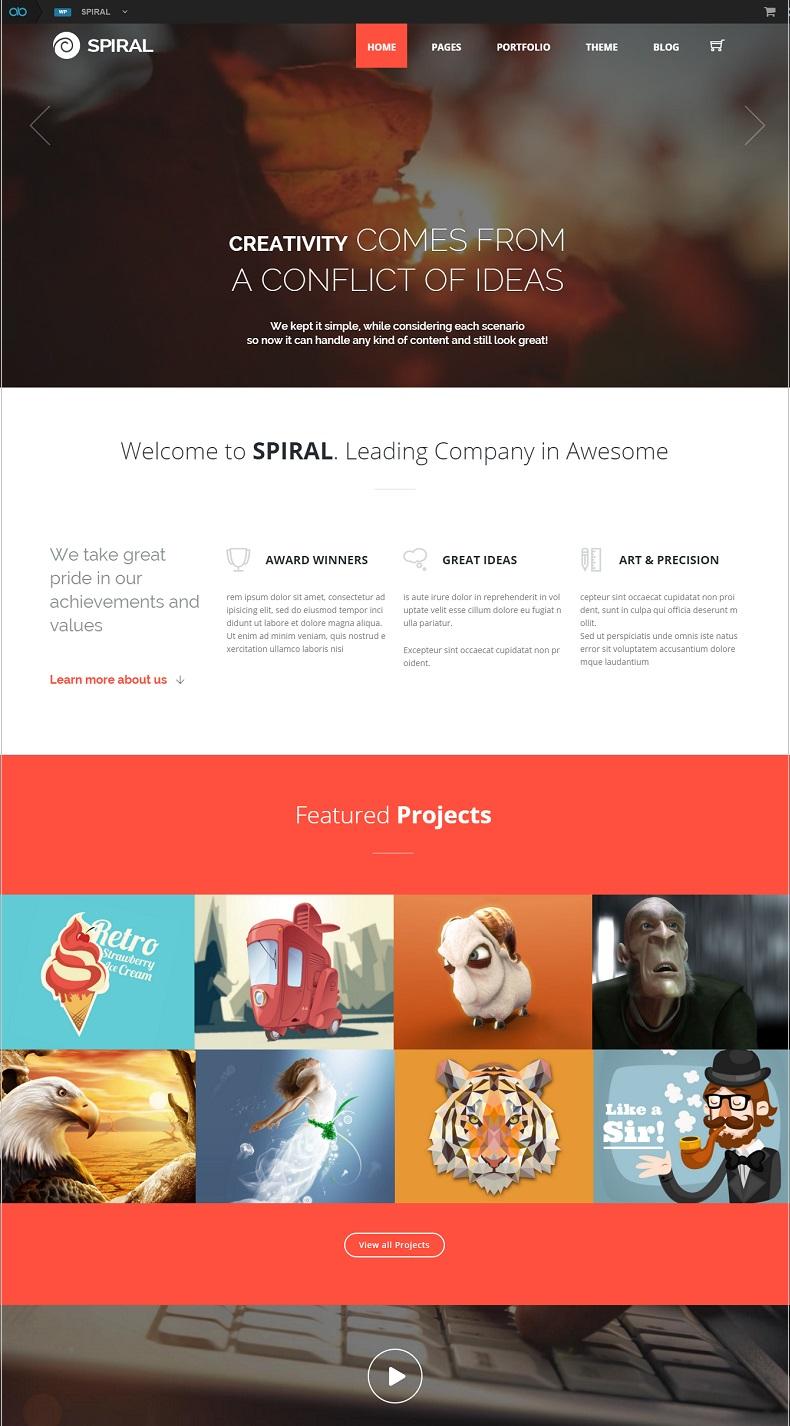 spiral wordpress theme