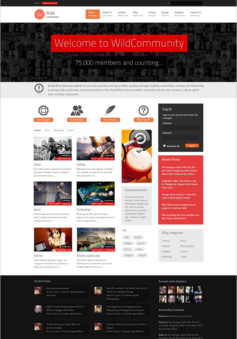 WildCommunity BuddyPress Theme