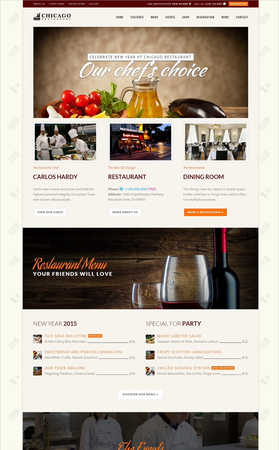 Chicago restaurant wordpress theme