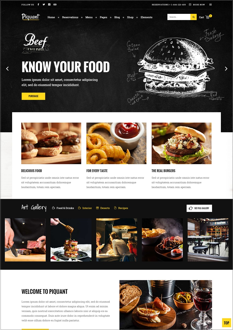 Piquant restuarant wordpress theme