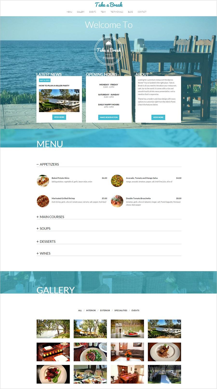 Take a break restaurant wordpress theme
