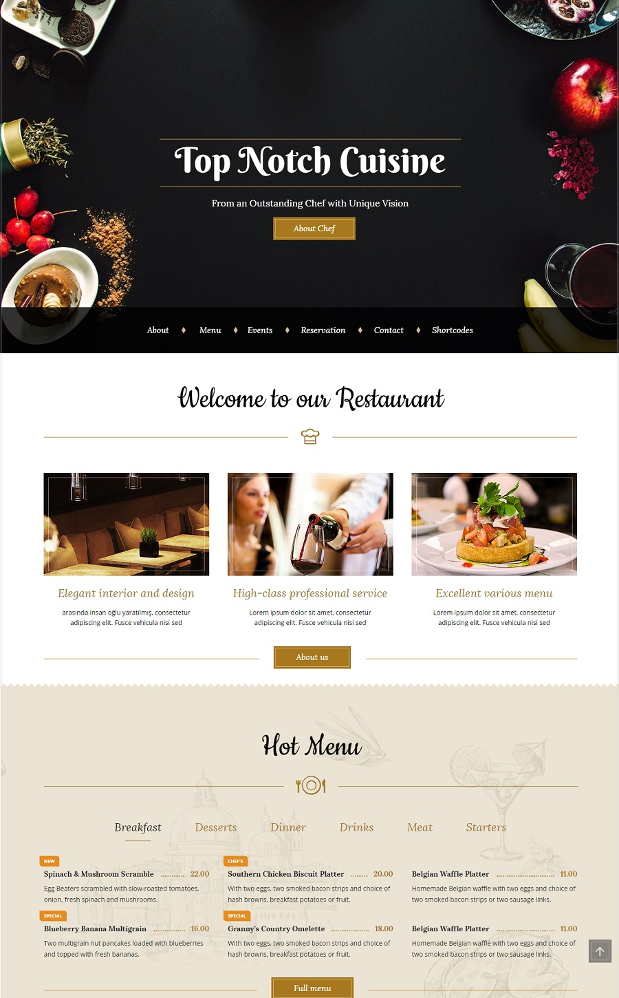 bon appetit restaurant wordpress theme