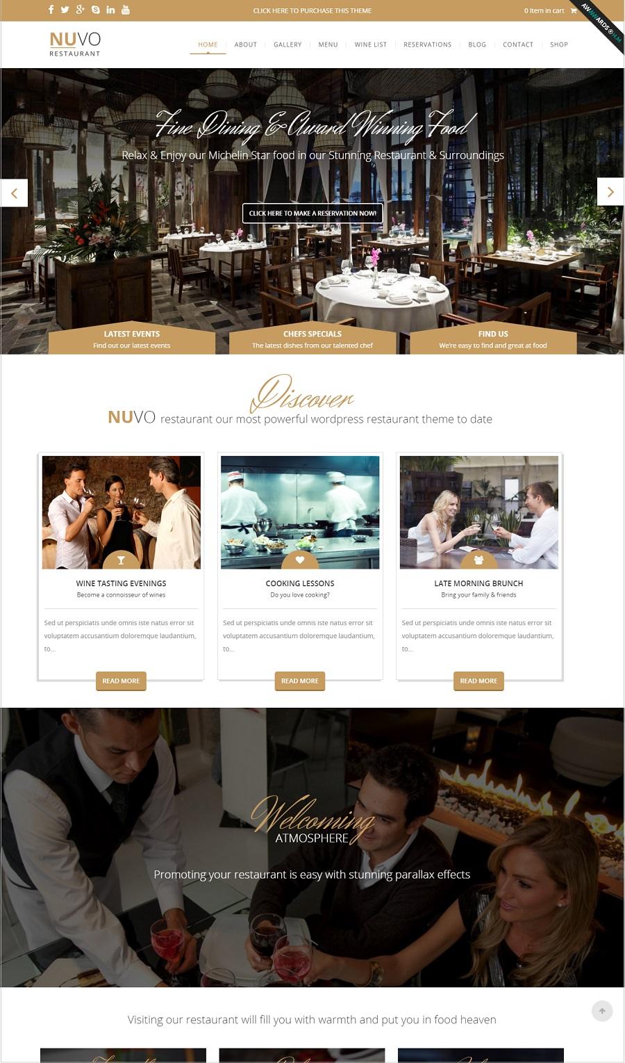 nuvo restaurant wordpress theme