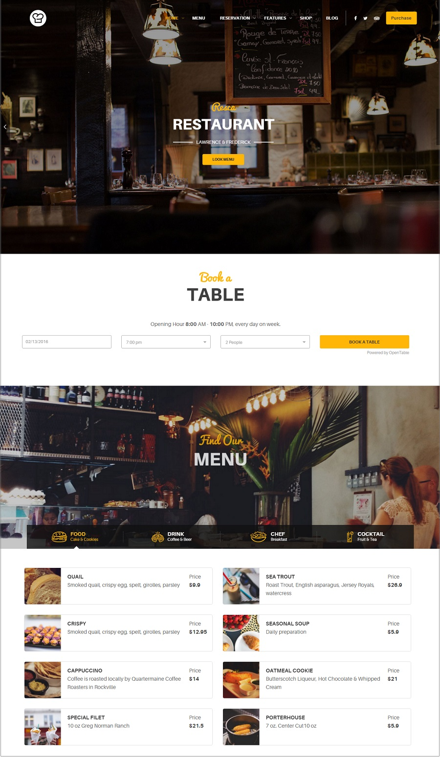 resca restaurant wordpress theme