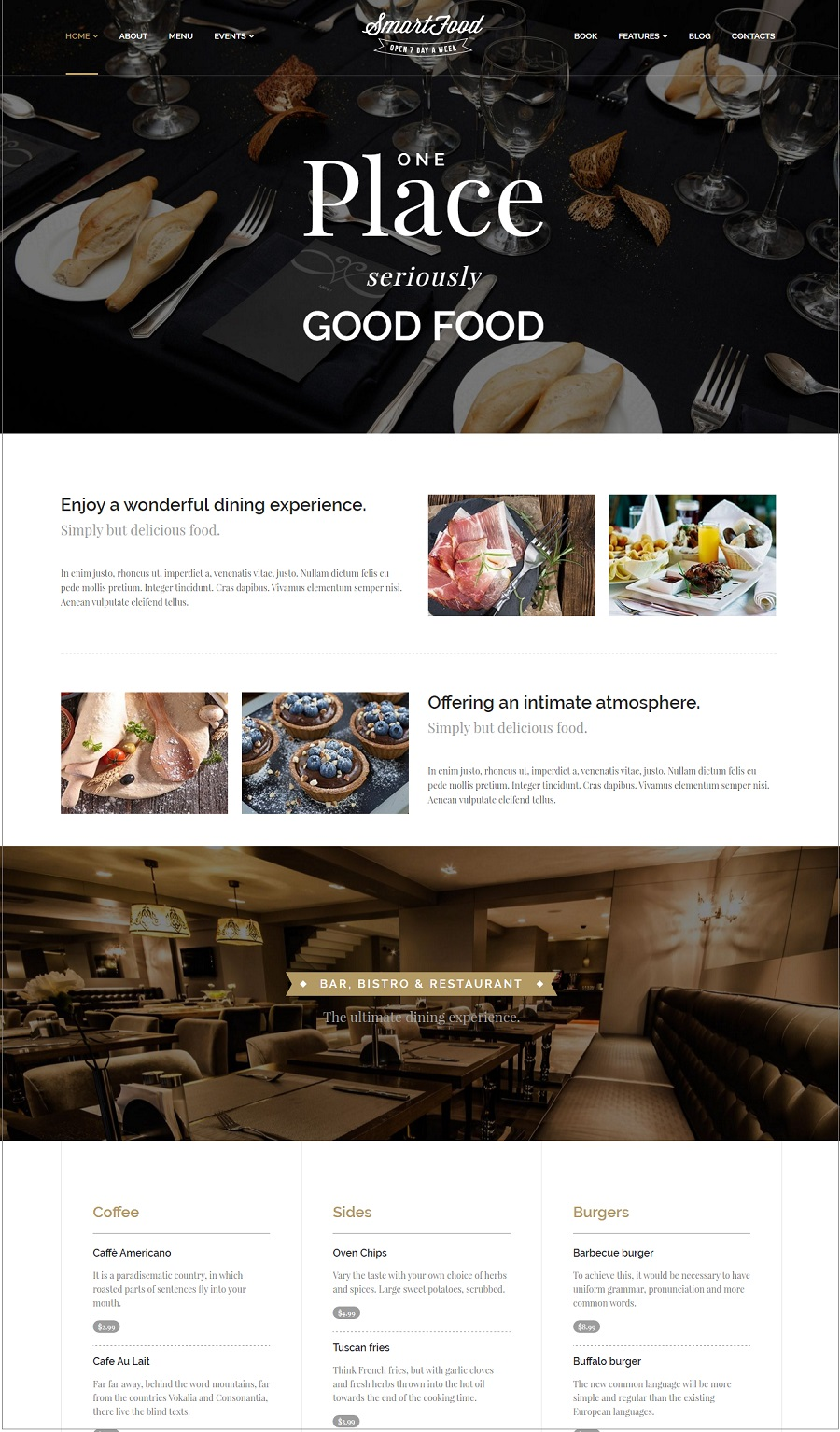 smartfood restuarant wordpress theme