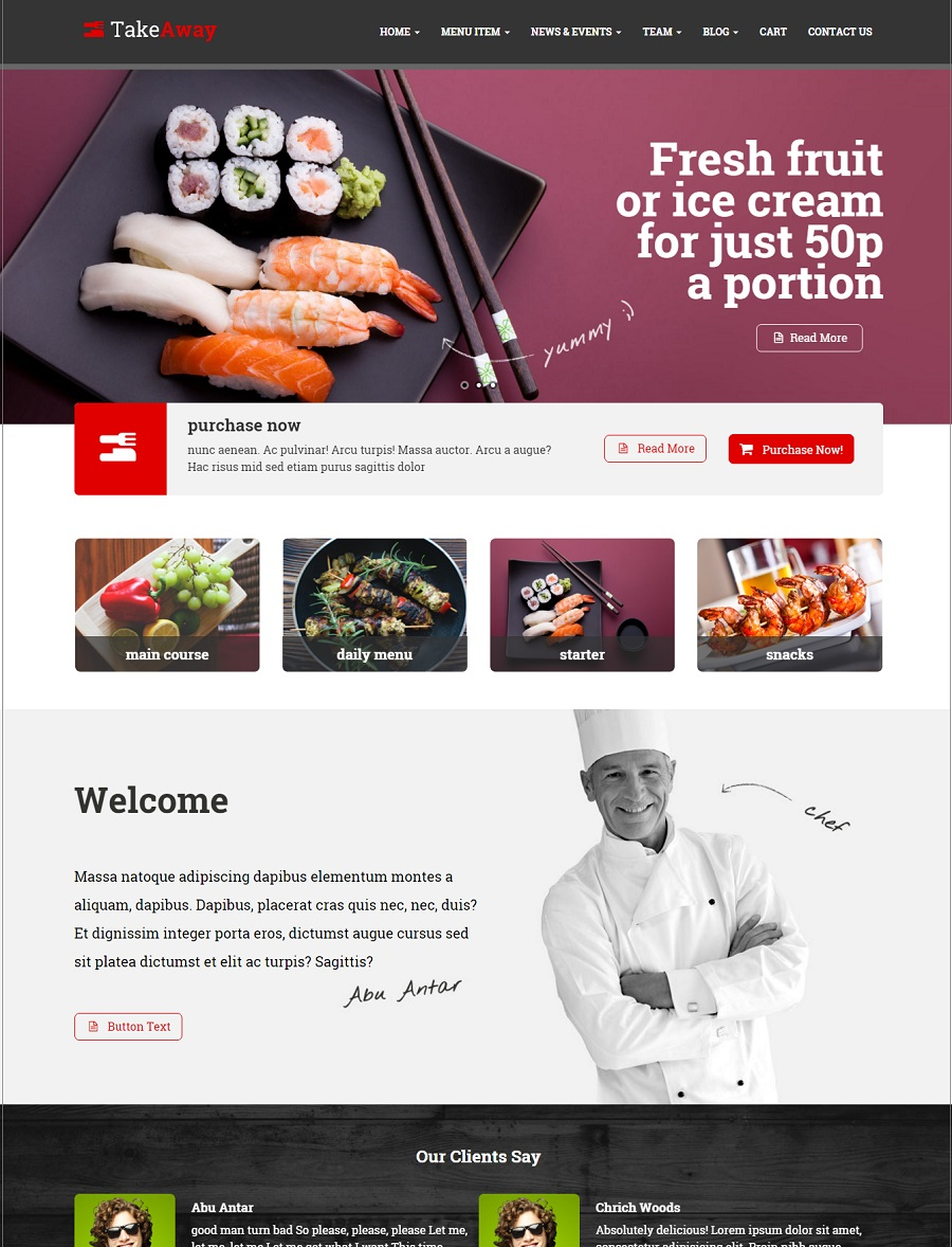 takeaway restuarant wordpress theme