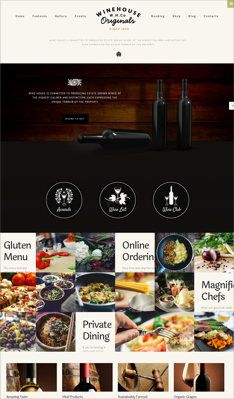 winehouse restuarant wordpress theme