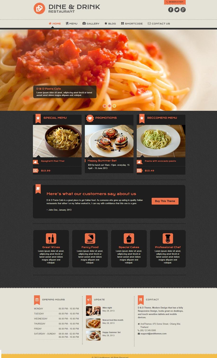 Dine & Drink restaurant wordpress theme