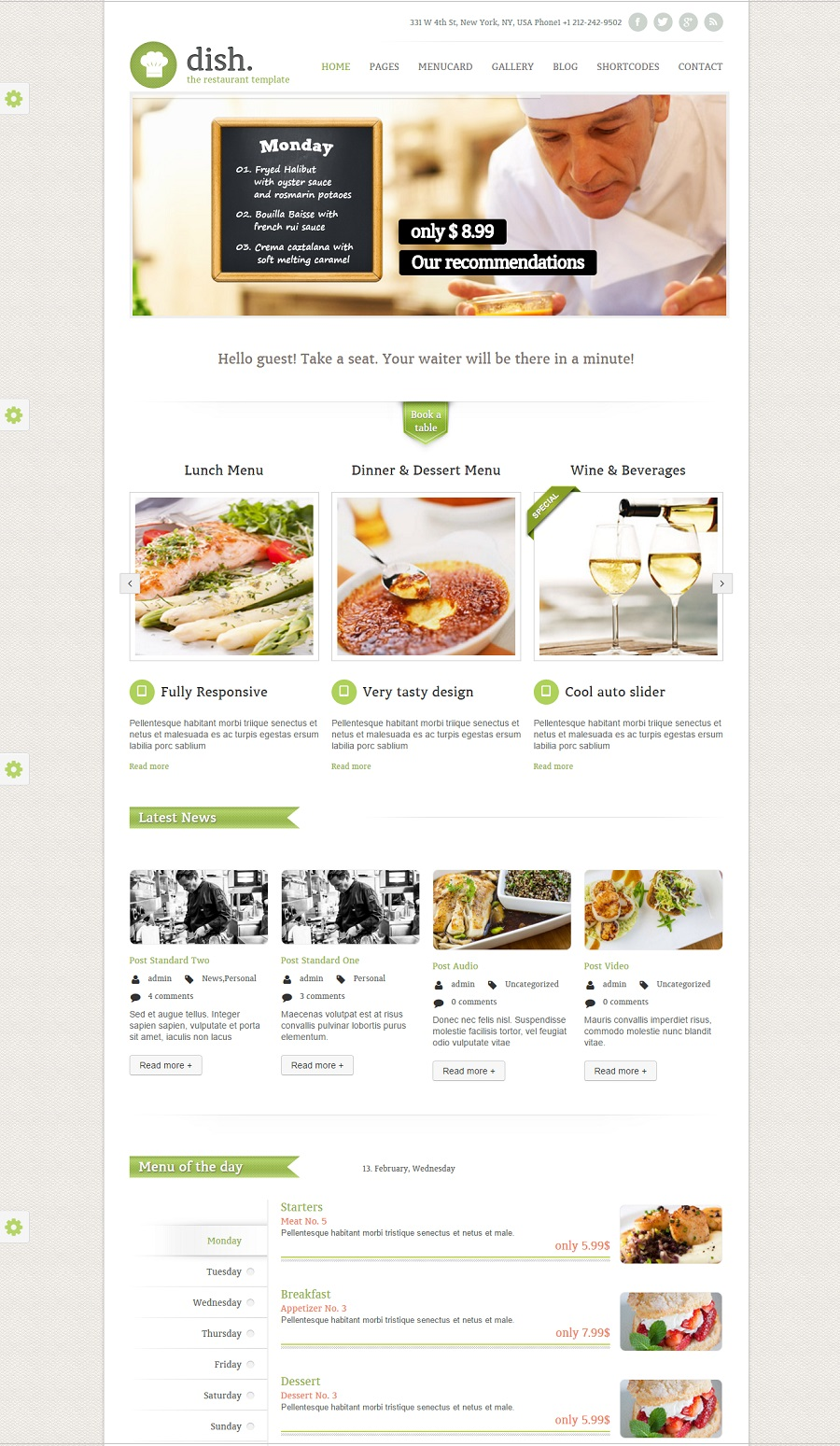 Dish restaurant wordpress theme