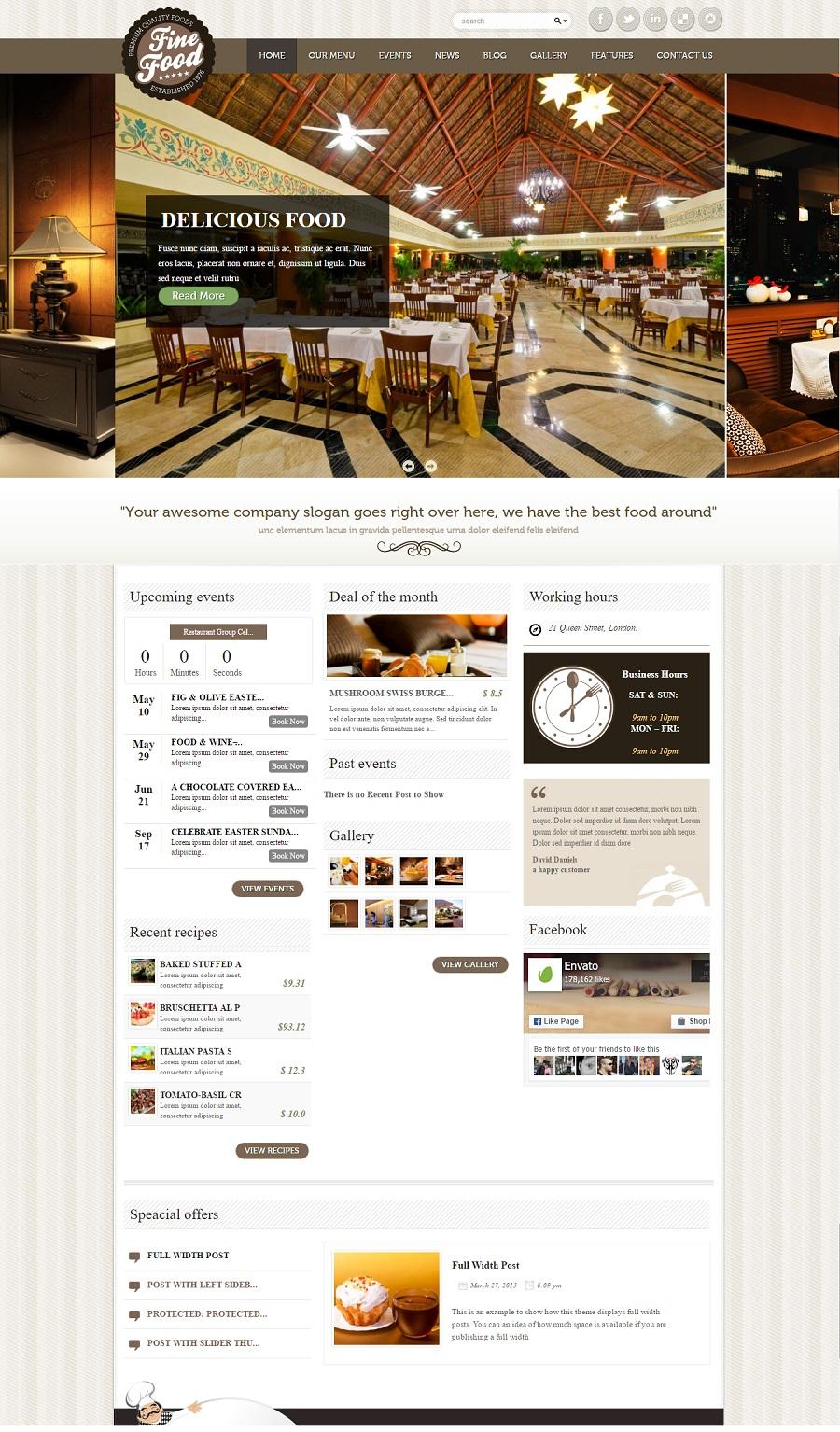 Fine Food restaurant wordpress theme