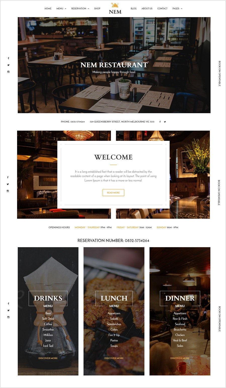 NEM restaurant wordpress theme
