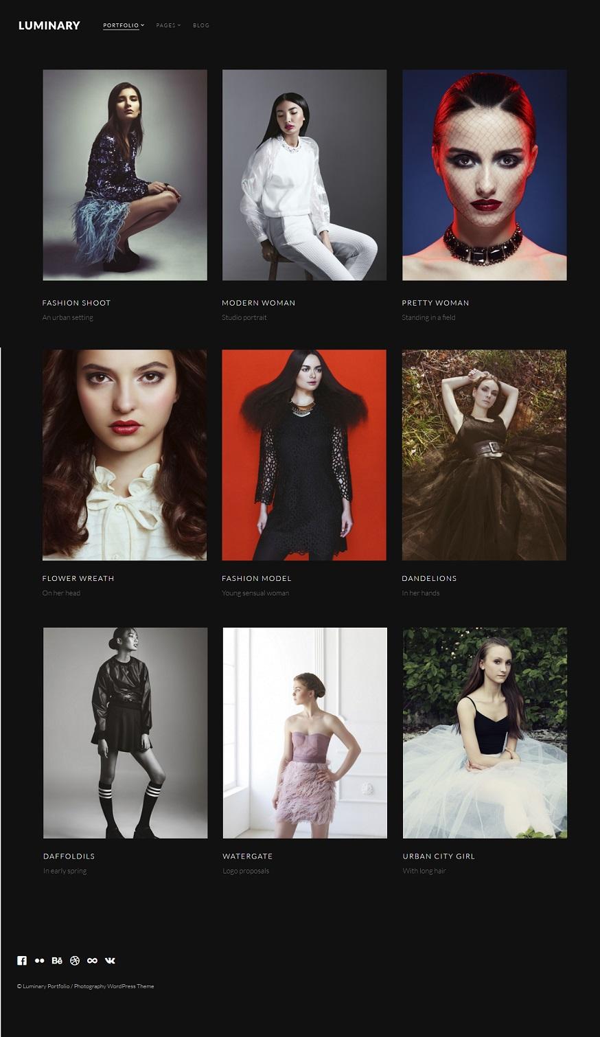 Luminary Photography wordpress theme